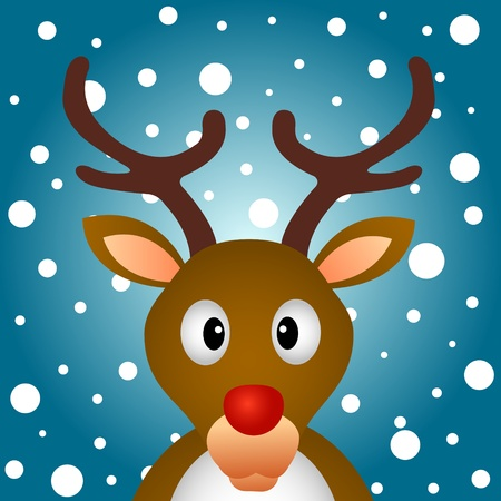 Reindeer with snowy background Vector