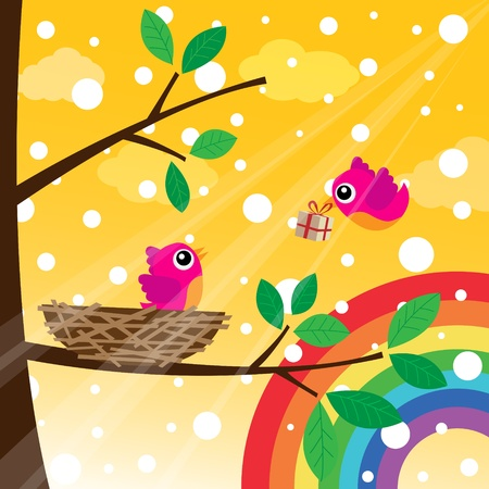 postcard box: Christmas birds couple with rainbow