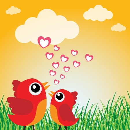 two hearts: Love bird with hearts