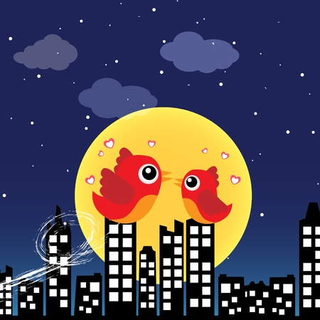 Birds in love at night Stock Vector - 13464503