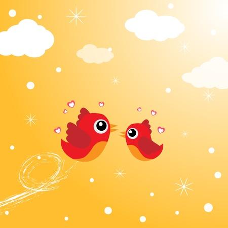 oiseau dessin: Oiseaux dans l'amour qui volent autour dans le ciel Illustration