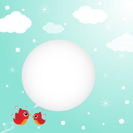 Birds in love flying around in the sky Stock Vector - 13477749
