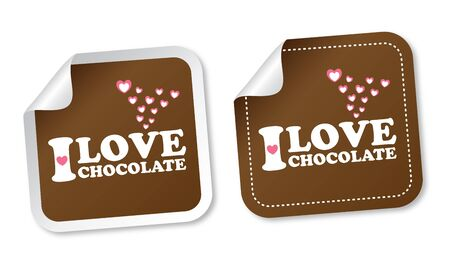 I love chocolate stickers Stock Vector - 13477738