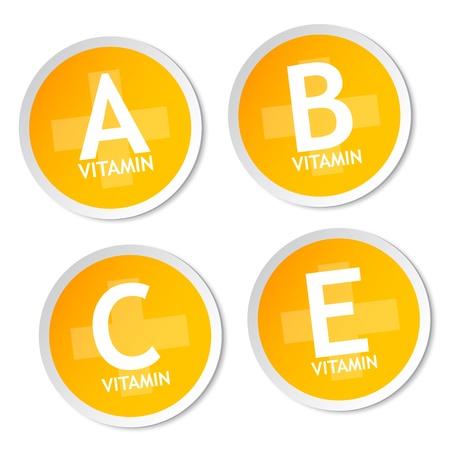 Vitamin A, B, C and E stickers Vector