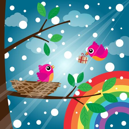 Christmas birds couple with rainbow Vector