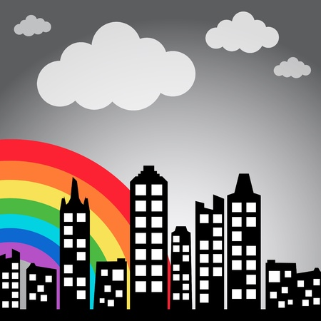 Cityscape background with rainbow Vector
