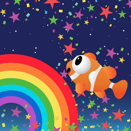 Fish in the night sky with rainbow and stars Vector