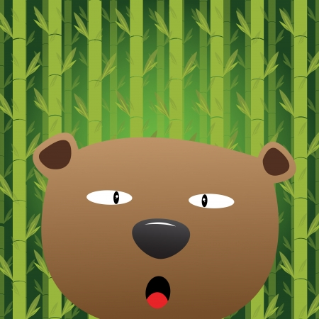 Bear with bamboo background Vector