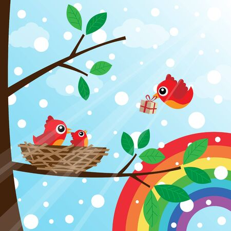 Christmas birds family with rainbow Vector