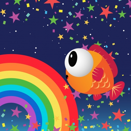 Fish in the night sky with rainbow and color stars Vector