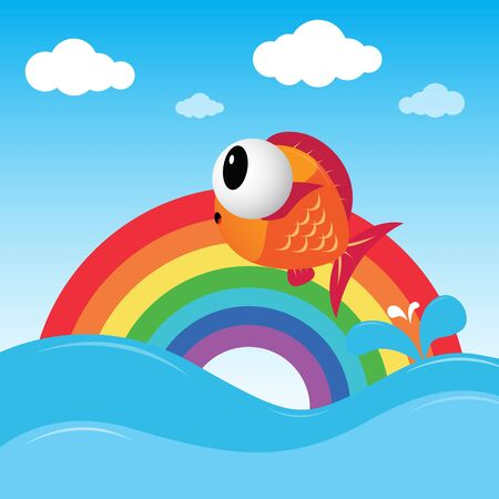 Fish jumping out of the water with rainbow Vector