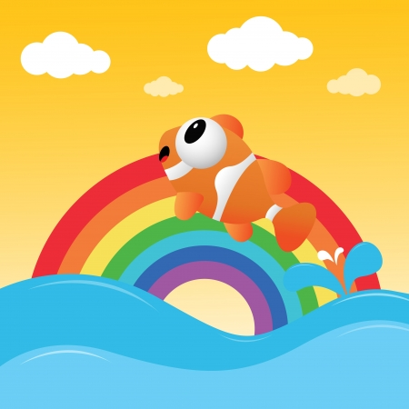 clown fish: Fish jumping out of the water with rainbow Illustration