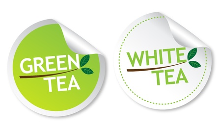 Green tea and White tea stickers Stock Vector - 13737654