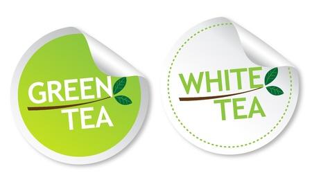 Green tea and White tea stickers Stock Vector - 13737654