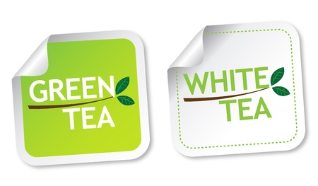 Green tea and White tea stickers Stock Vector - 13737669