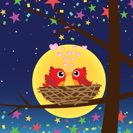 Birds in love at night Vector