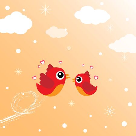 Birds in love flying around in the sky Vector
