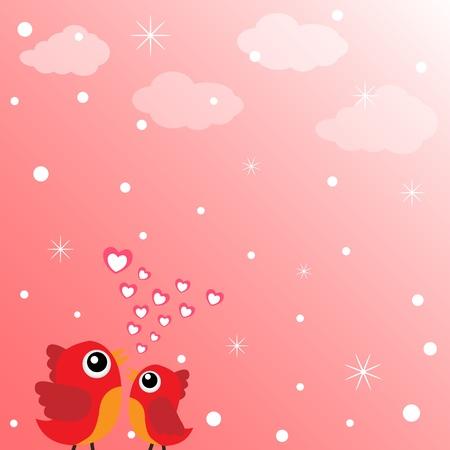 Love bird with hearts Vector