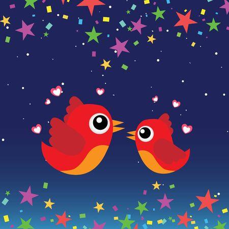 Birds in love at night Stock Vector - 13737248