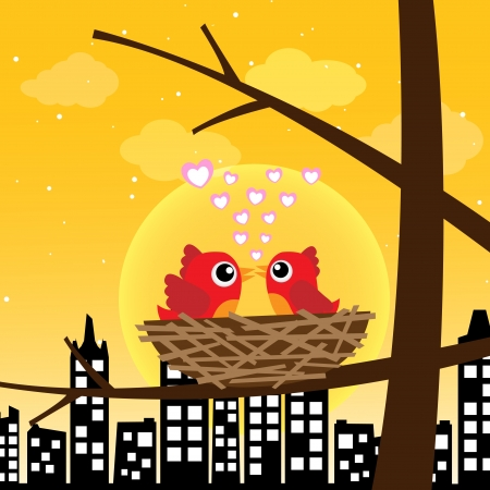Birds in love in the morning Vector