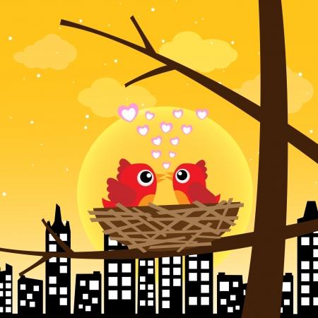 Birds in love in the morning Stock Vector - 13737253
