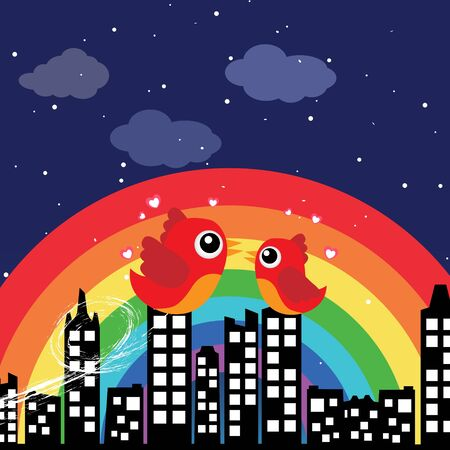 Birds in love with rainbow at night Stock Vector - 13737265