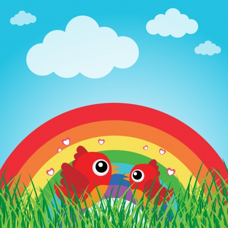 Love bird with hearts and rainbow Stock Vector - 13737257