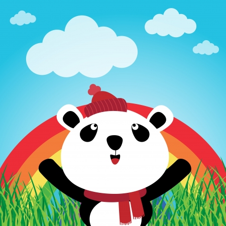 Panda with rainbow in the forest Vector