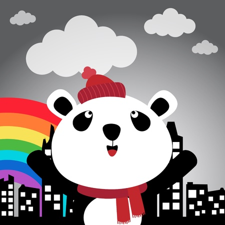 Panda in the city with rainbow Vector