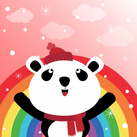 Panda in the sky with rainbow Vector