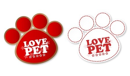 Paw print stickers with text love pet and stars Vector