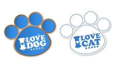 Paw print stickers with text I love dog and I love cat Vector