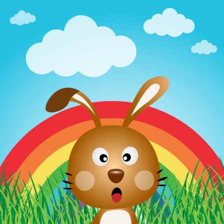 catoon: Rabbit with rainbow in the forest