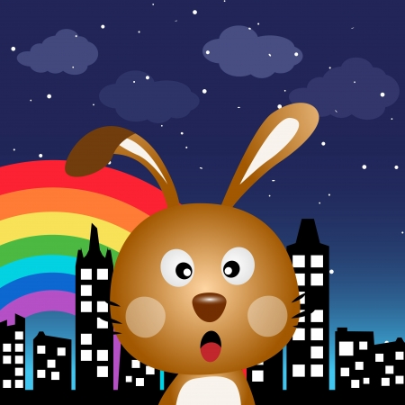 Rabbit in the city at night Vector