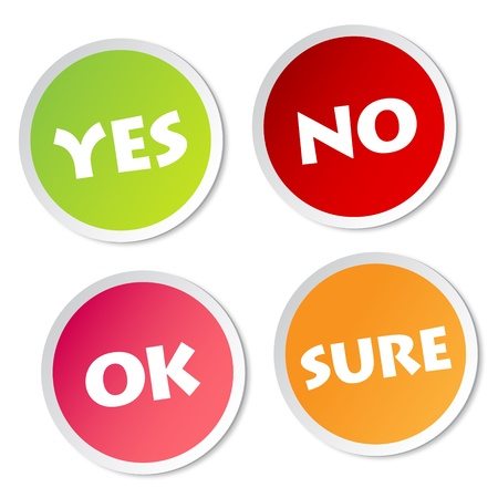 sure: Yes, No, Ok and Sure stickers