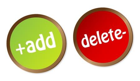Add and Delete stickers Stock Vector - 14075135