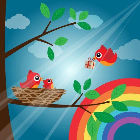 Christmas birds family with rainbow Vector