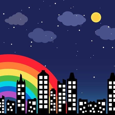 Cityscape background with rainbow Illustration