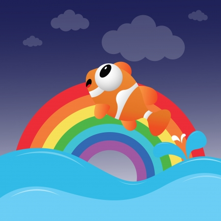 Fish jumping out of the water with rainbow Stock Vector - 14075118