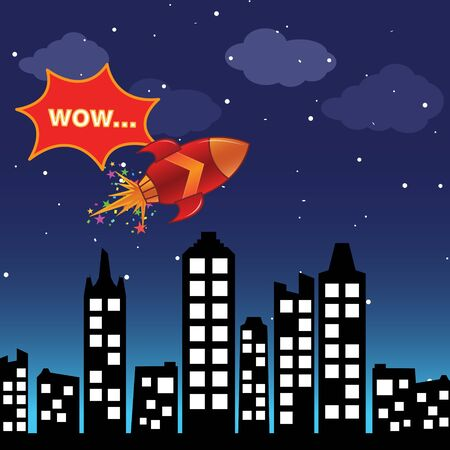 Flying rocket in the night city Stock Vector - 14075132