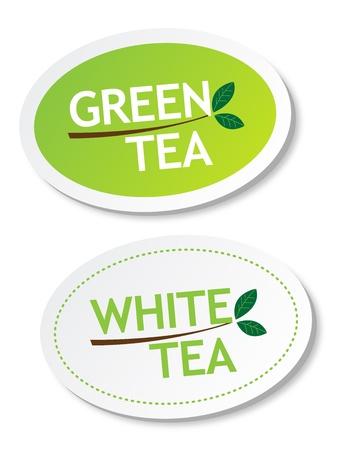 wei�er tee: Gr�ner Tee und Wei�er Tee Aufkleber Illustration