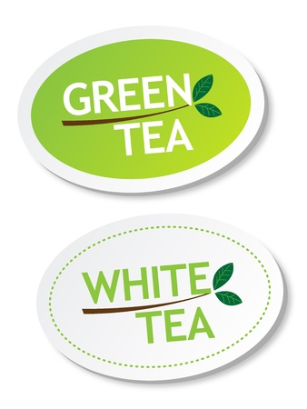 chinese tea: Green tea and White tea stickers