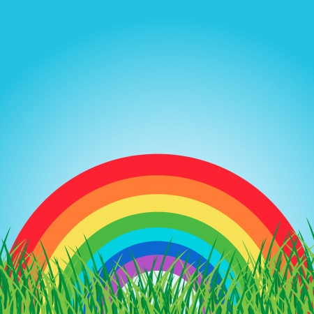 Summer landscape with rainbow Illustration