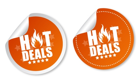 Hot deals stickers Stock Vector - 14187441