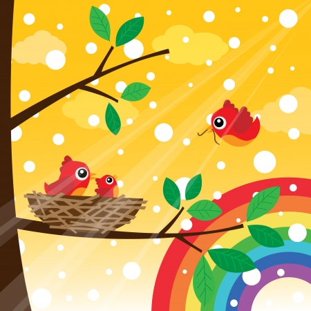 Loving bird feeding in the morning with rainbow Vector