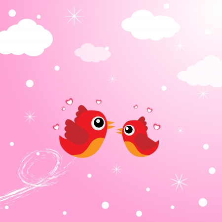 first sight: Birds in love flying around in the sky Illustration