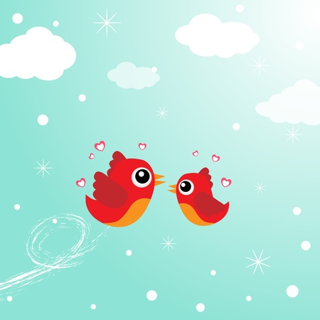 Birds in love flying around in the sky Illustration
