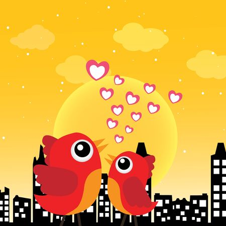 Birds in love in the morning Stock Vector - 14187451