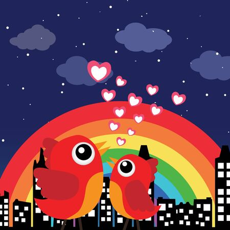 Birds in love with rainbow at night Vector
