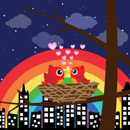 Birds in love with rainbow at night Stock Vector - 14187447
